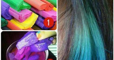 DIY: Haare tönen mit Krepppapier