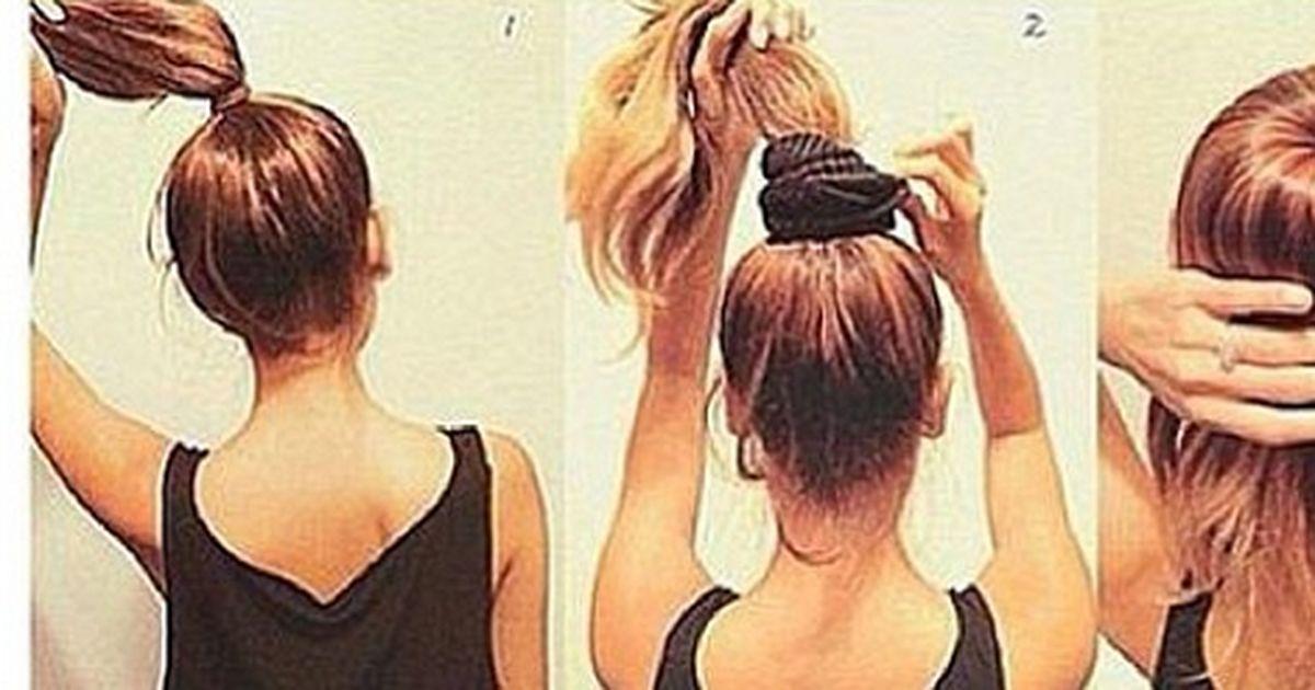 Как сделать пучок бублик из коротких волос