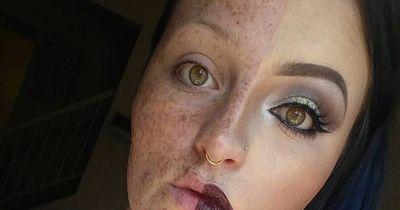 Sie schminkt ihr Gesicht nur bis zur Hälfte!