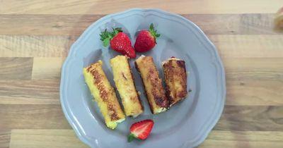 Mach aus labberigem Toast himmlische Nutella-Erdbeer-Röllchen